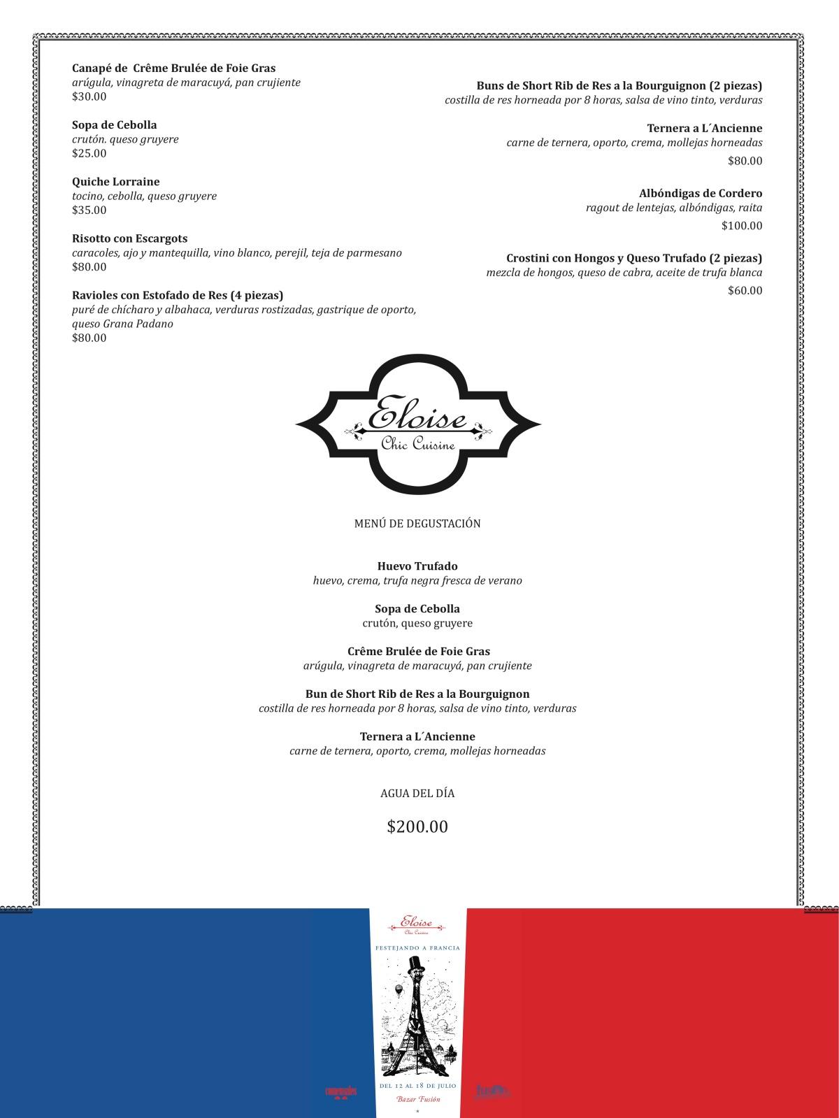 menu eloise bazar fusión